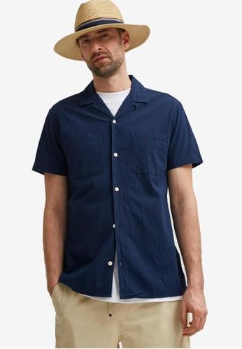 Selected Homme navy Seersucker Resort Shirt 4C052AA612537FGS_1