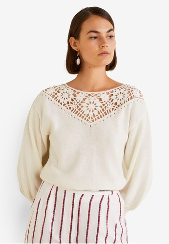MANGO beige Openwork Panel Sweater 62E66AAA8F2AF8GS_1