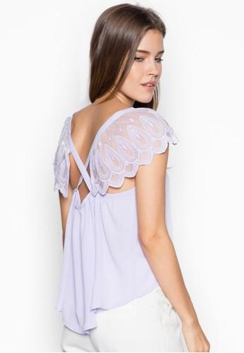 蕾絲袖拼接上esprit au衣, 服飾, 上衣