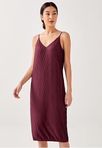 Love, Bonito red Fern Pleated Column Midi Dress 2D3BBAA09FA00DGS_1