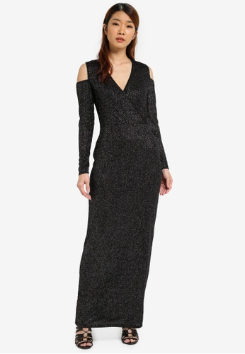 Dorothy Perkins black Glitter Maxi Dress DO816AA0SJ60MY_1