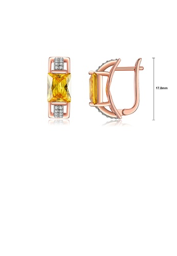 Glamorousky yellow Fashion Temperament Plated Rose Gold Geometric Rectangular Earrings with Yellow Cubic Zirconia 0484AAC5B6A36CGS_1