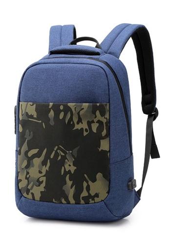 Jackbox blue Korean Camo Design Ipad Laptop Bag Casual Business Backpack 557 (Blue) 01D57AC7FFDCC5GS_1