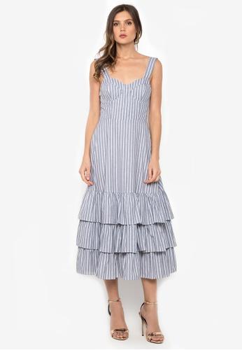 NOBASIC grey Stripe Ruffled Dress EB98CAA4A4FE98GS_1