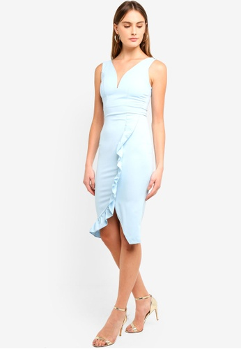 c1fbe732a893 WALG blue Plunge Neckline Midi Dress With Wrap Over Frilled Detail  3FAD2AA257BDDEGS 1
