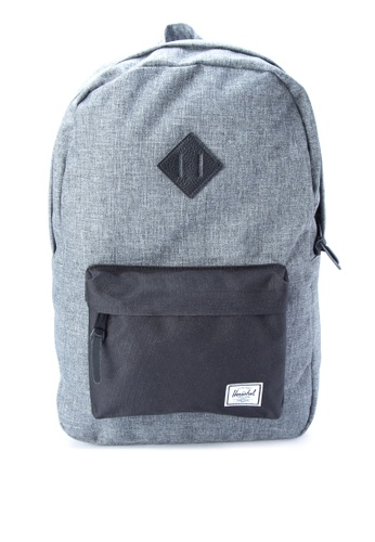 Herschel black and grey Heritage Backpack HE958AC0JPWSPH_1