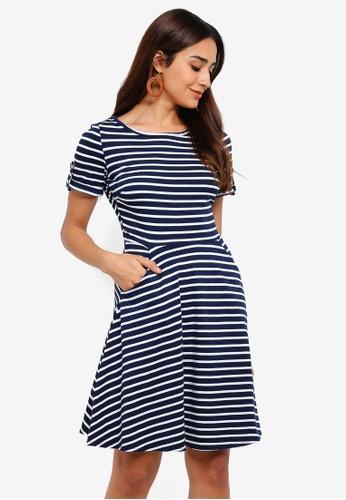 b17969befe68 Dorothy Perkins navy Navy Stripe Print Short Sleeve T-Shirt Dress  C2AD8AA7E3D5B8GS_1