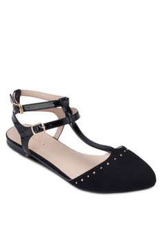 Ankle Strap Ballerinas With Micro Studs Details