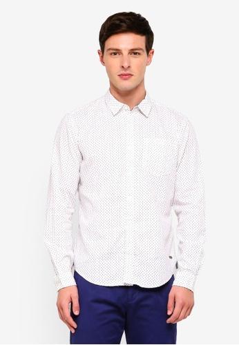 ESPRIT 白色 圓點長袖襯衫 17D8DAAE25C4B9GS_1