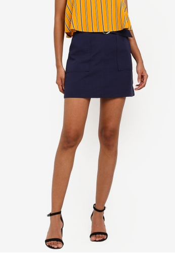 ZALORA BASICS navy Basic Belted Mini Skirt 14BACAA950D243GS_1