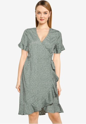 Vero Moda green Henna 2/4 Wrap Frill Dress 294FAAAAF63B2FGS_1