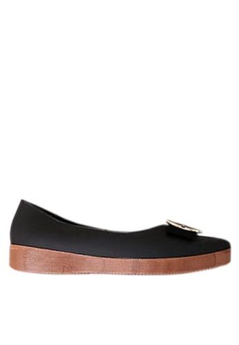 Twenty Eight Shoes 黑色 金屬飾扣果凍膠船跟雨鞋 VR818 85125SH8496F3CGS_1