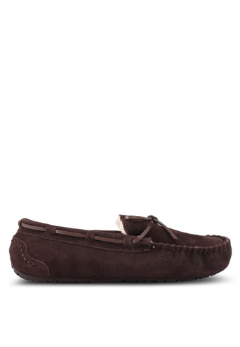 Burton Menswear London brown Lace Suede Brown Moccasin Slippers BU964SH0T1H1MY_1