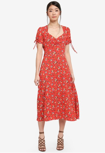 Miss Selfridge red Ruched Sleeve Midi Dress 4C012AA5D8BD88GS_1