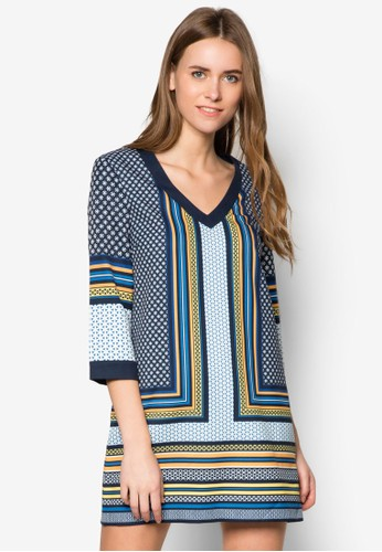 幾何圖案長袖連身裙, 服飾, zalora taiwan 時尚購物網服飾