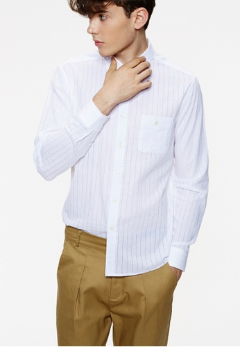 Life8 white Weave Slim Fit Long Sleeve Shirts-03889-White LI283AA0FUEFSG_1