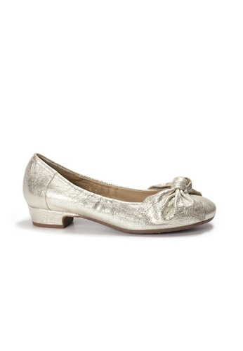 Shu Talk gold LeccaLecca Metallic Bow Low Heel Shoes 4F0DBSH2EADACFGS_1