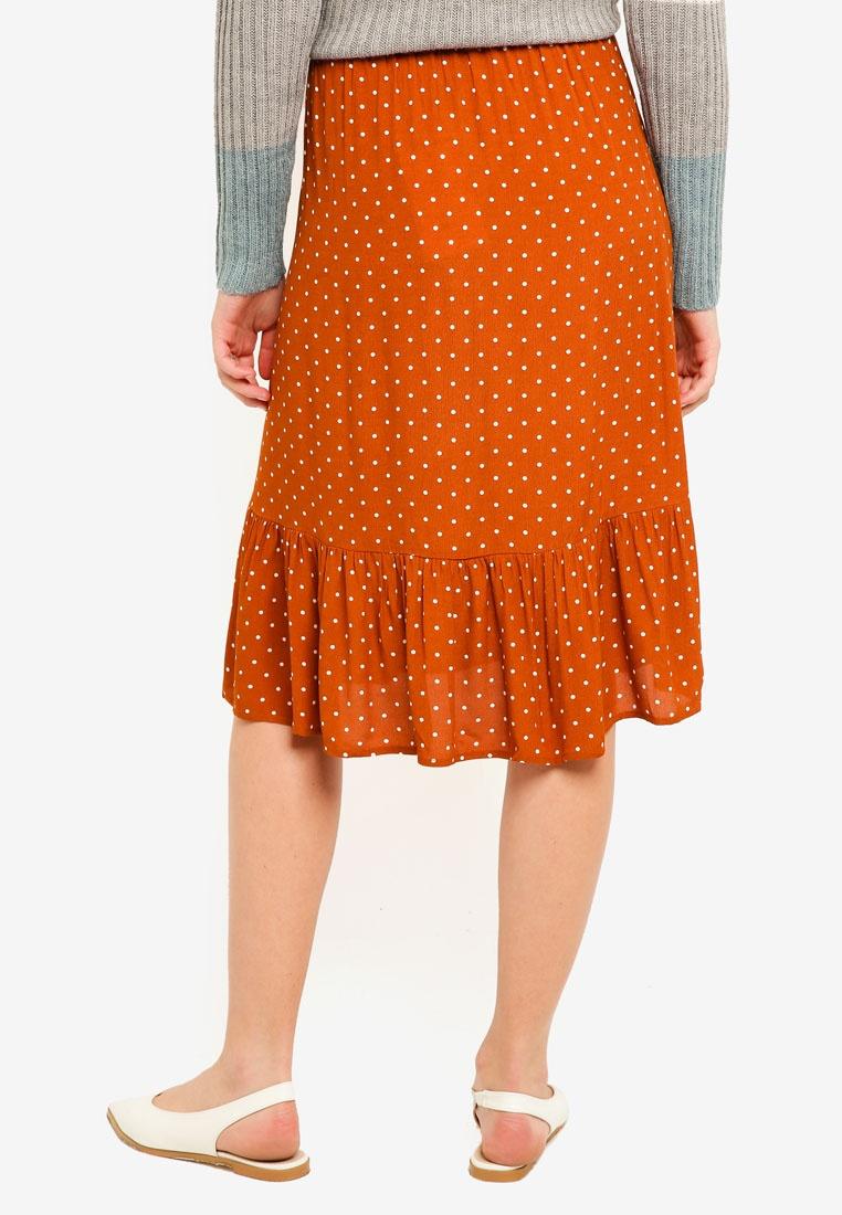 ICHI ICHI Leather Leather Brown Skirt Brown Brick Skirt ICHI Brick TxF7q61ww