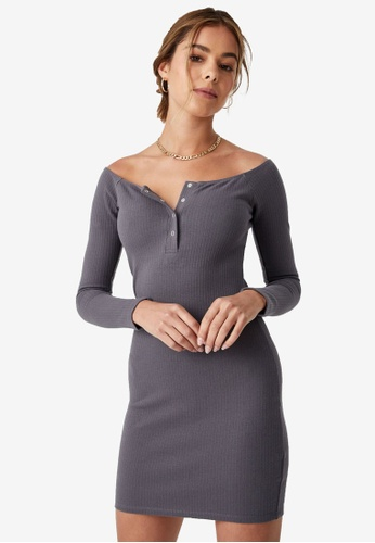 Supre grey Pia Buttoned Mini Dress 9AADCAA6BC6B57GS_1