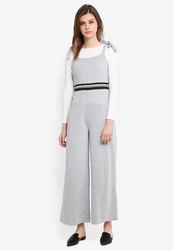 Zalia grey Tie Strap Jumpsuit With Puff Sleeve Tee E14D8AAEED2D11GS_1