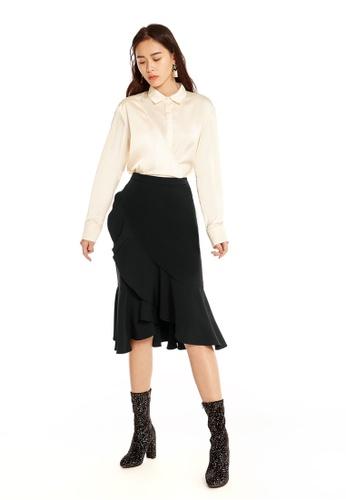 Pomelo black Lawan Ruffle Midi Skirt - Black 3088FAA08DAF92GS_1