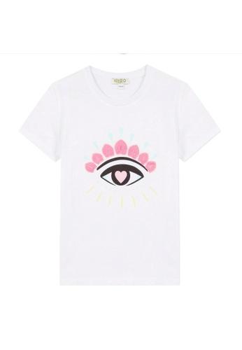 KENZO KIDS white and pink and blue KENZO GIRLS T-SHIRT. AA48DKA3D36B78GS_1
