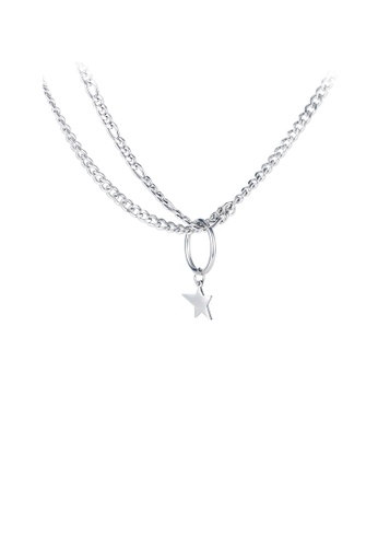 Glamorousky silver Simple and Fashion Star 316L Stainless Steel Pendant with Double Necklace 39FD1ACBC6E17DGS_1