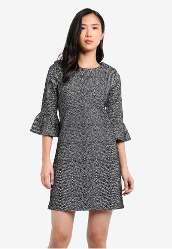 Dorothy Perkins grey Mono Herringbone Shift Dress DO816AA0SKRZMY_1