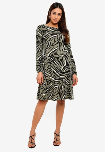 80d25a5716ba Wallis green and multi Khaki Zebra Print Swing Dress 9B0A5AA4F57199GS_1