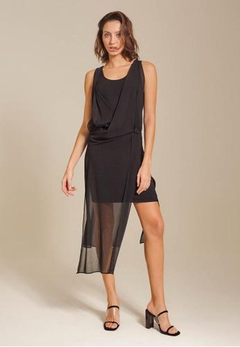 Dressing Paula black Draped Chiffon Jersey Dress E2697AA404E819GS_1