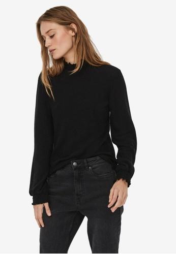 Vero Moda black Tammi Long Sleeve Frill Top 6BEFAAA8ACC618GS_1