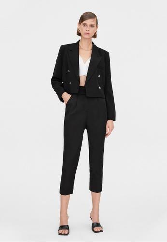 Pomelo black Side Double Buckle Belted Pants - Black E2DCFAA1407528GS_1
