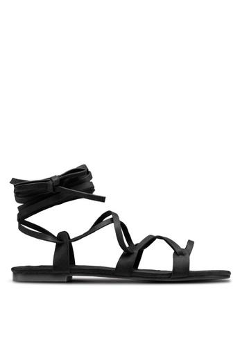 ZALORA black Strappy Grecian-Look Sandals E180ASHE5E08A6GS_1