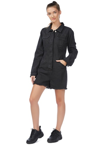 London Rag black Black All Covered Raw Hem Denim Romper 42FE3AAD0B6700GS_1
