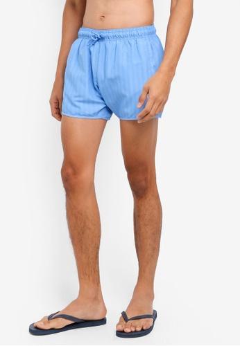 Topman blue Blue Overdye Stripe Swim Shorts F821AUSBB2194FGS_1