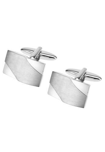 CUFF IT silver Brushed Silver Curved Cufflinks CU047AC49FGCHK_1
