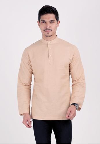VELRIA beige KURNIA Cotton Linen Modern Kurta 864F8AAB088EE0GS_1
