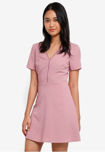Something Borrowed pink Short Sleeve Fit and Flare Dress CC9C8AA7FC3E3DGS_1