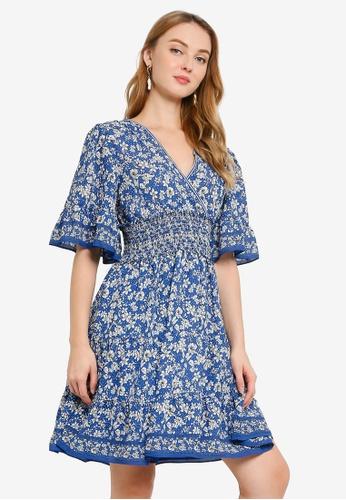 Max Studio blue and multi Woven V-Neck Flutter Sleeve Dress 94367AAA07665DGS_1