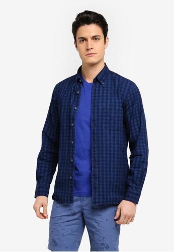 Brooks Brothers 海軍藍色 休閒長袖格紋襯衫 6ABC2AA8E0F2D8GS_1