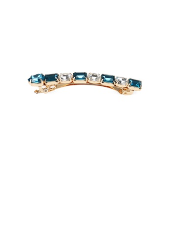Glamorousky blue Fashion and Simple Plated Gold Geometric Hair Clip with Blue Cubic Zirconia 1D0D0AC10B8F71GS_1