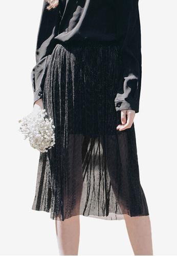 Kodz black Sheer Midi Skirt With Inner Lining B45CDAAA7449FFGS_1