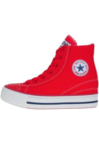 Maxstar 紅色 新款韩国鞋C2-Line時尚帆布布混合女紅色 US Women Size MA345SH23HDWTW_1