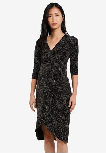 Dorothy Perkins black Maternity Wrap Metallic Dress DO816AA0S7AXMY_1