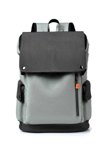 Lara grey Men's Water-repellent Wear-resistant Oxford Cloth Flap Zipper Backpack - Light Grey B829CAC6194032GS_1