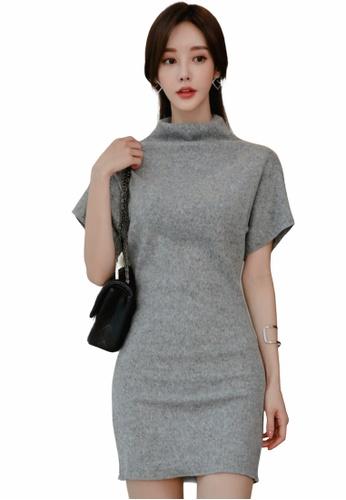 Crystal Korea Fashion grey Korean slim elegant lady dating dress 494DDAA63BFDEAGS_1