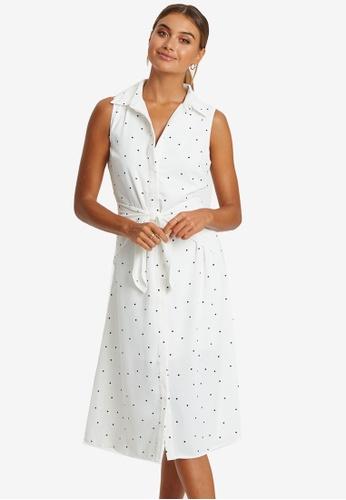 REUX white Somali Tie Midi Dress 5A24DAAA630FC5GS_1