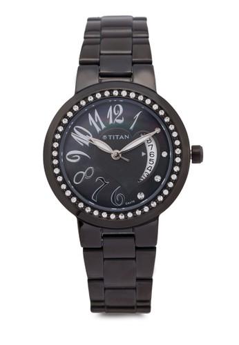 Titan P3H 9855NM01esprit 內衣 水鑽數字不銹鋼圓錶, 錶類, 時尚型