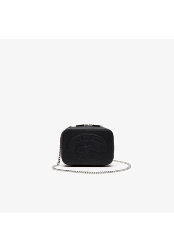 Lacoste black Lacoste Women's Croco Crew Grained Leather Zip Shoulder Bag NF2970NL E266FAC5EE5E9CGS_1