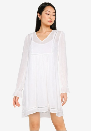 ZALORA BASICS white Lace Trim Dress 05ED7AA165F409GS_1